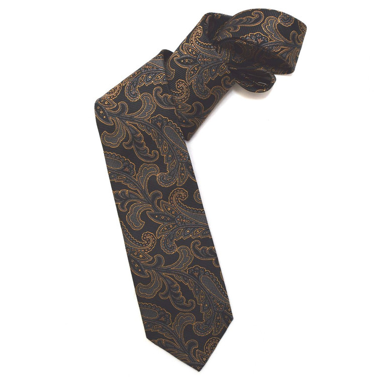 Black, Charcoal, and Gold Paisley Woven Silk Tie by Robert Jensen