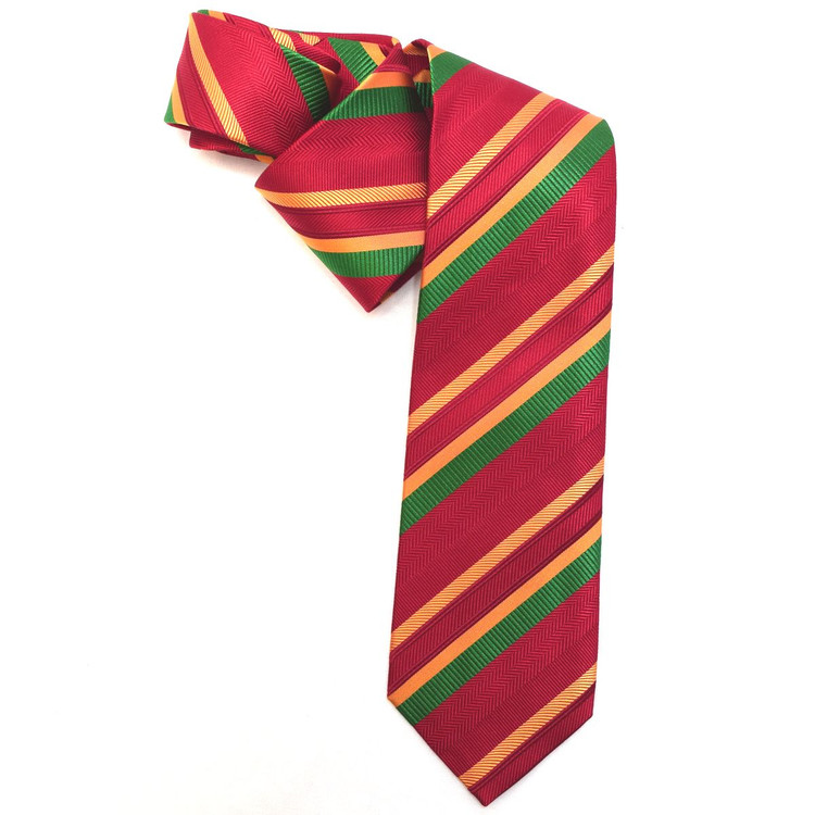 Red, Gold, and Green Multi-Textured Stripe Woven Silk Tie by Robert Jensen