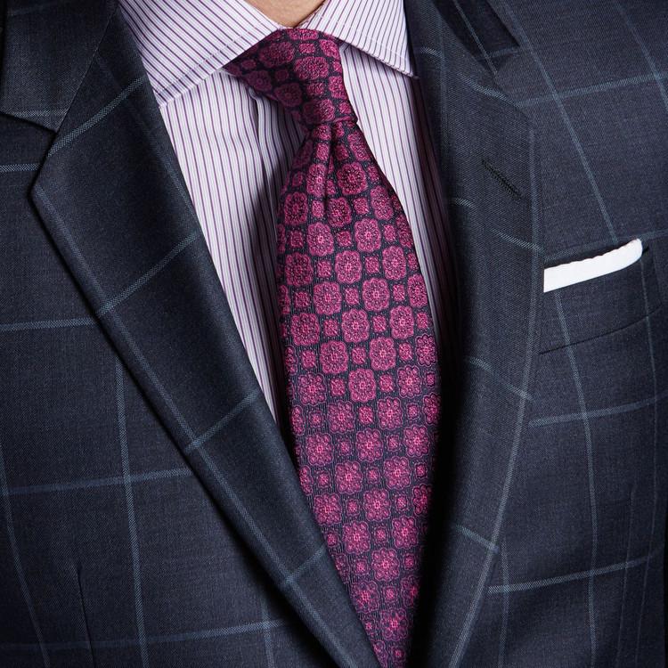 Best of Class Beet and Navy 'Symmetry' Woven Silk Tie by Robert Talbott
