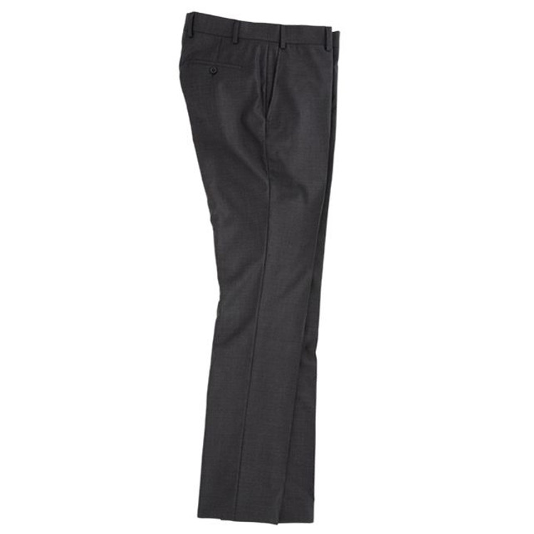 Super 110s Wool Flat Front Trouser in Charcoal by Peter Millar