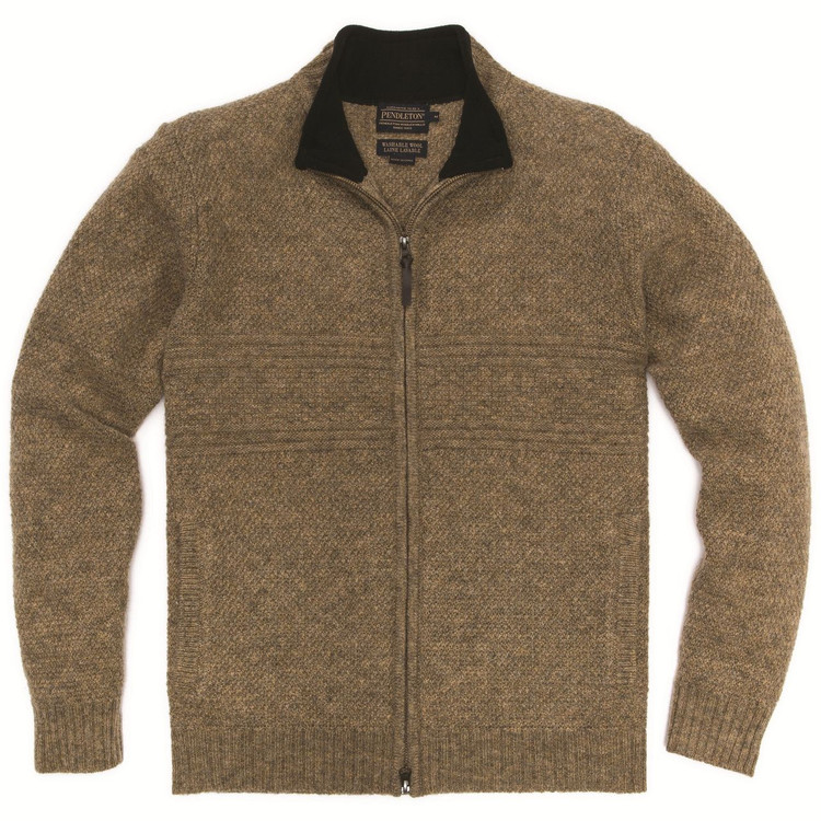 Shetland Zip-Front Cardigan in Tan Heather by Pendleton