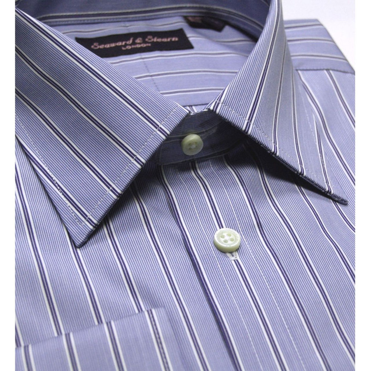 Blue and White Stripe Dress Shirt (Size 16 - 36) by Seaward & Stearn