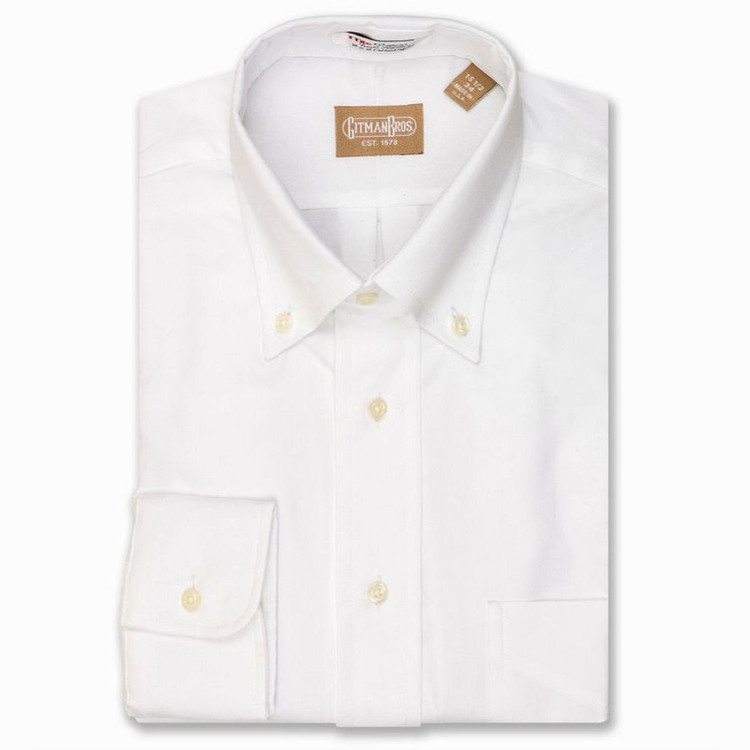 80's 2-Ply Pinpoint Shirt with Button-Down Collar in White (Size 16 - 36) by Gitman Brothers