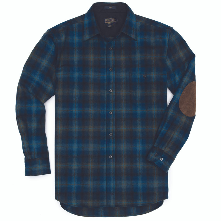 Elbow-Patch Trail Shirt in Turquoise and Green Plaid by Pendleton