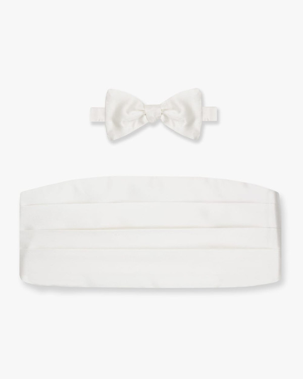 Silk Off White Satin Bow Tie & Cummerbund Set by Gitman Brothers