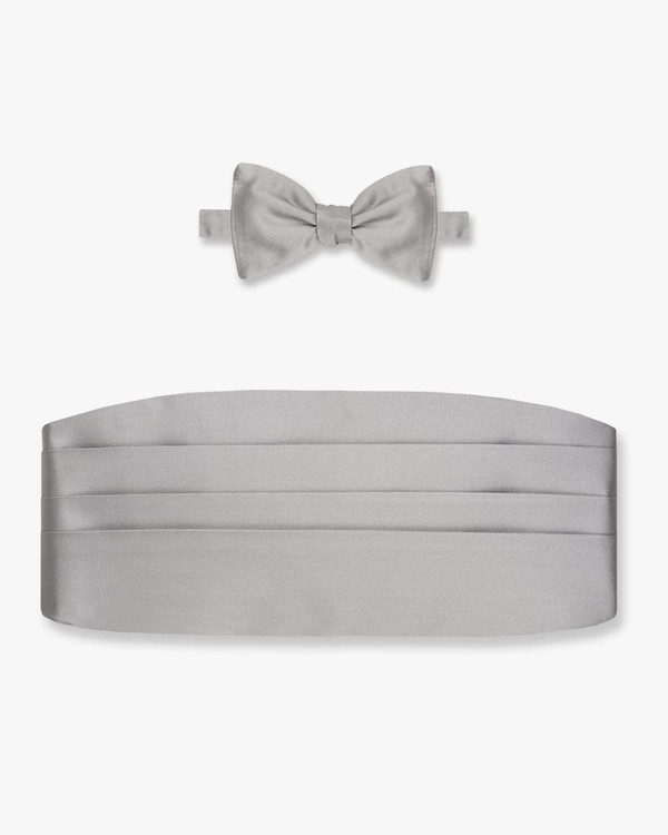 Silk Silver Satin Bow Tie & Cummerbund Set by Gitman Brothers