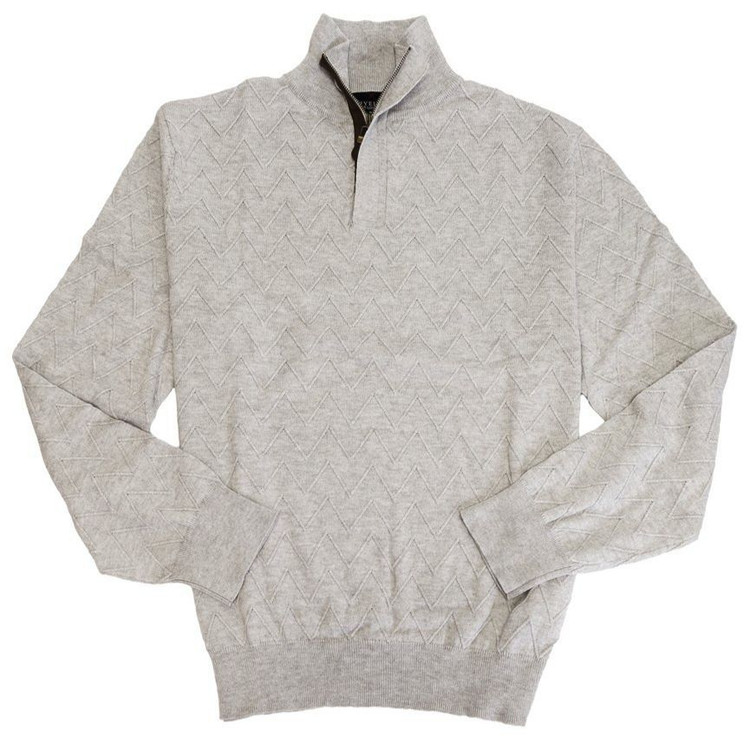 Cotton and Cashmere Quarter-Zip Mock Neck Sweater in Winter White by Viyella