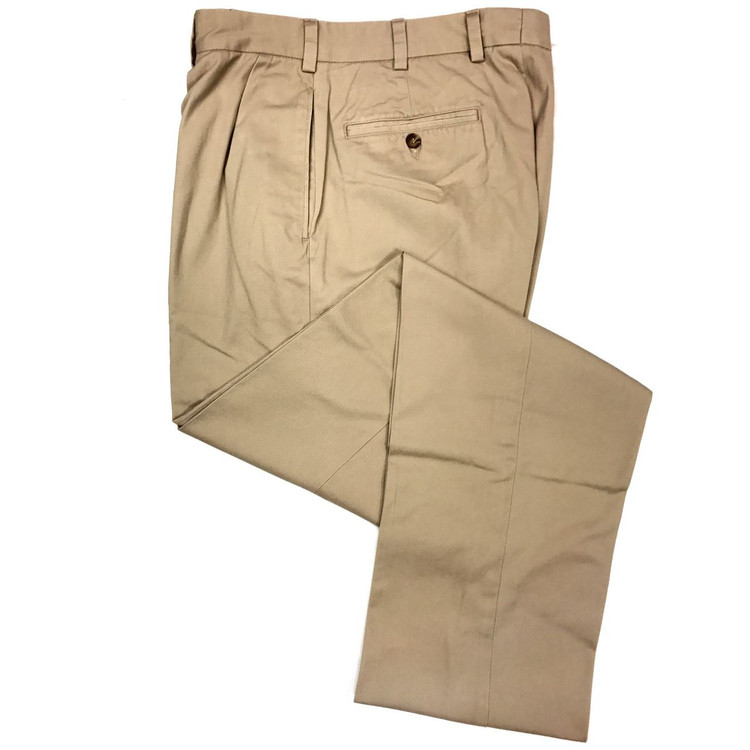 Vintage Twill Pant - Model F1P Relaxed Fit Forward Pleat in British Tan by Hansen's Khakis