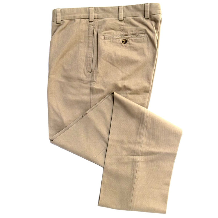 Vintage Twill Pant - Model F1 Relaxed Fit Plain Front in British Tan by Hansen's Khakis