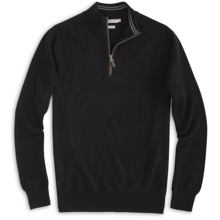 Napa Trimmed Quarter-Zip Sweater in Black by Peter Millar