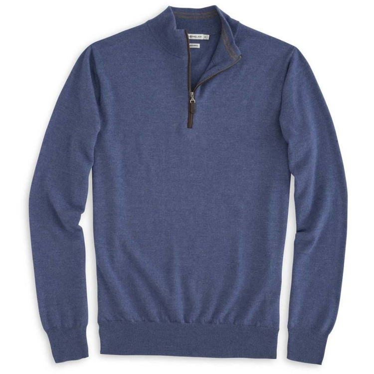 Napa Trimmed Quarter-Zip Sweater in Hawaiian Blue by Peter Millar