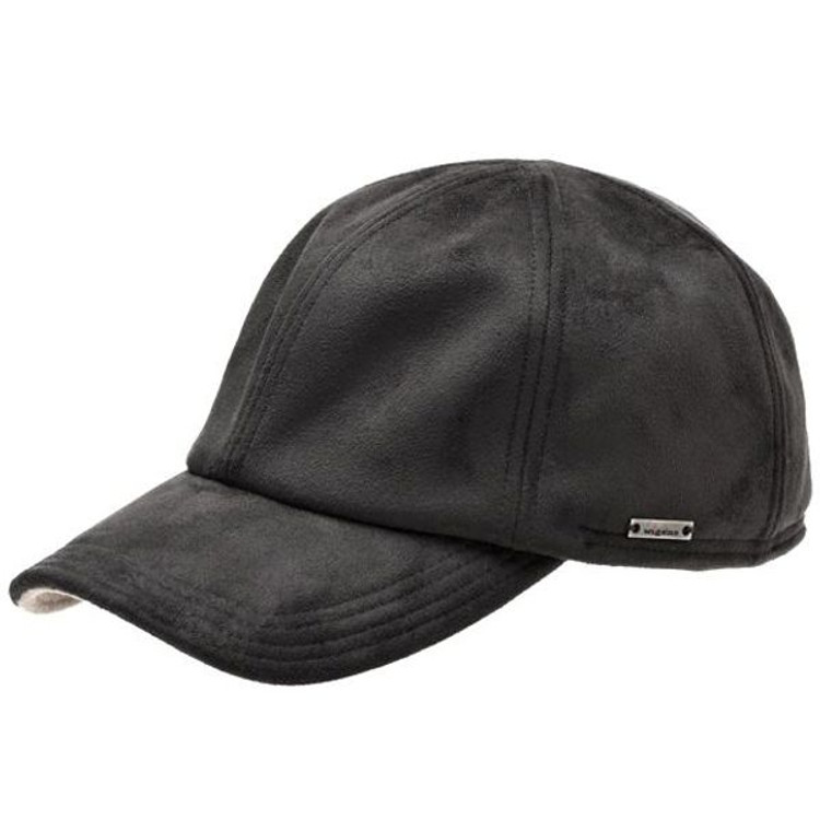 'Haldo' Black Faux Suede Baseball Cap with Earflaps in Black (Size 60) by Wigens