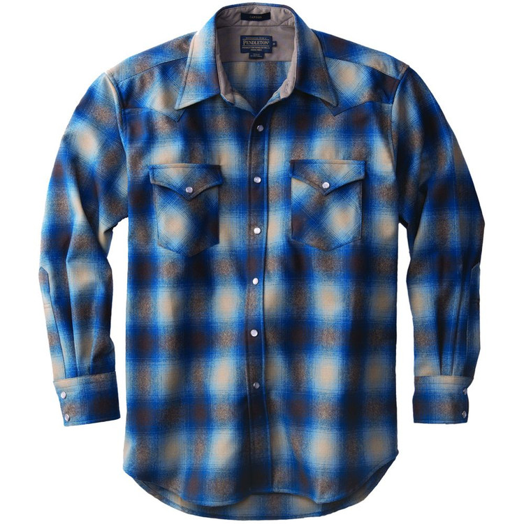 Snap-Front Western Canyon Shirt in Tan and Blue Ombre (Size Medium) by Pendleton