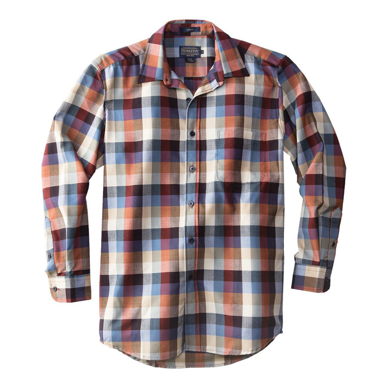 Lodge Shirt in Worsted Wool Chambray Check by Pendleton