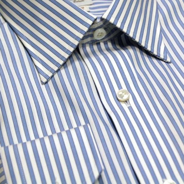 Sky and White Stripe Estate Dress Shirt (Size 16 1/2 - 35) by Robert Talbott