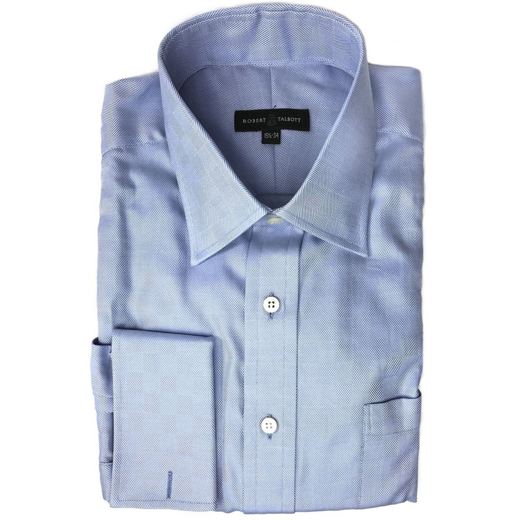 Blue Parquet Dress Shirt (Size 15 1/2 - 34) by Robert Talbott