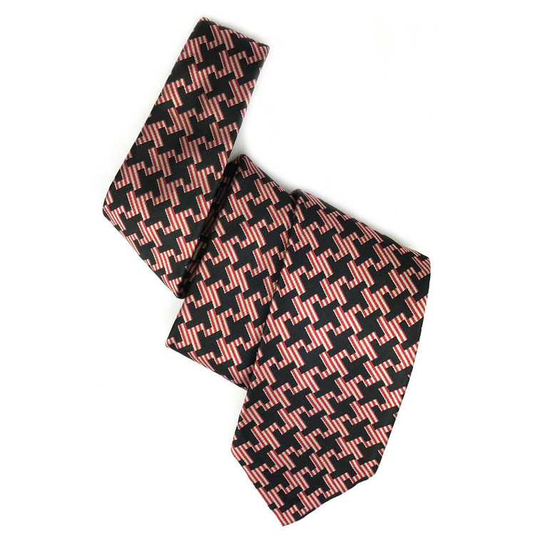 Black and Red Oversize Houndstooth Seven Fold Silk Tie by Robert Talbott