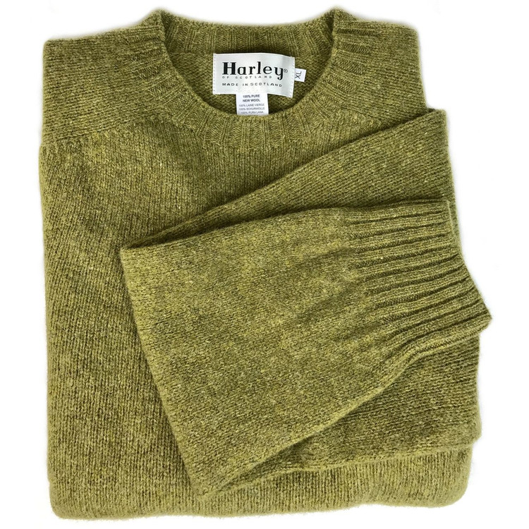Shetland Saddle Shoulder Crew Neck Sweater in Asparagus by Harley of Scotland