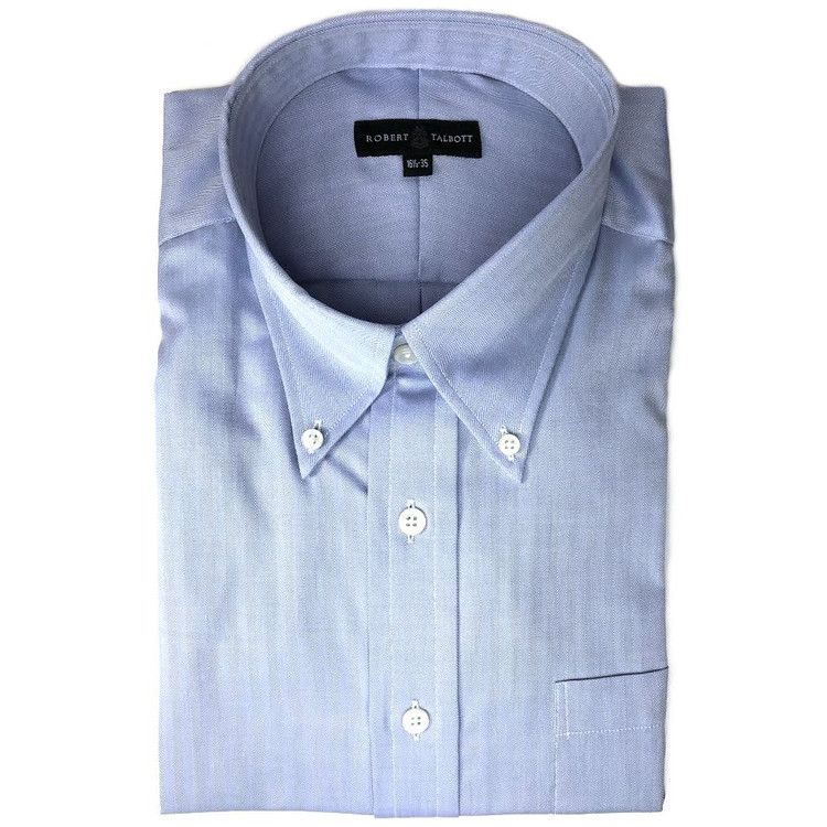 Blue Herringbone Dress Shirt (Size 16 1/2 - 35) by Robert Talbott