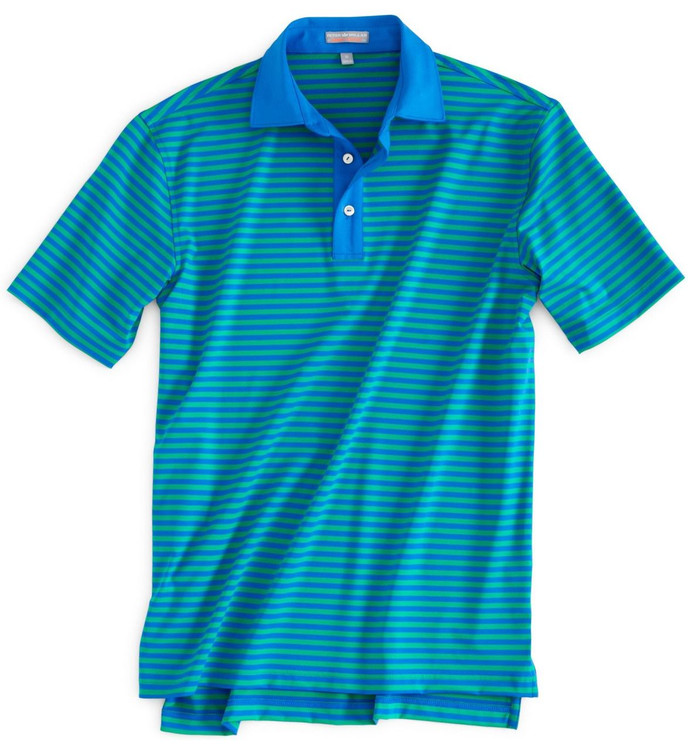 Burke Stripe Element 4 Stretch Jersey Polo with Sean Collar in Pamlico Blue (Size X-Large) by Peter Millar