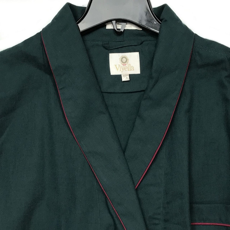 Gentleman's Genuine Cotton and Wool Blend Robe in Solid Hunter Green with Burgundy Piping (Size Large) by Viyella