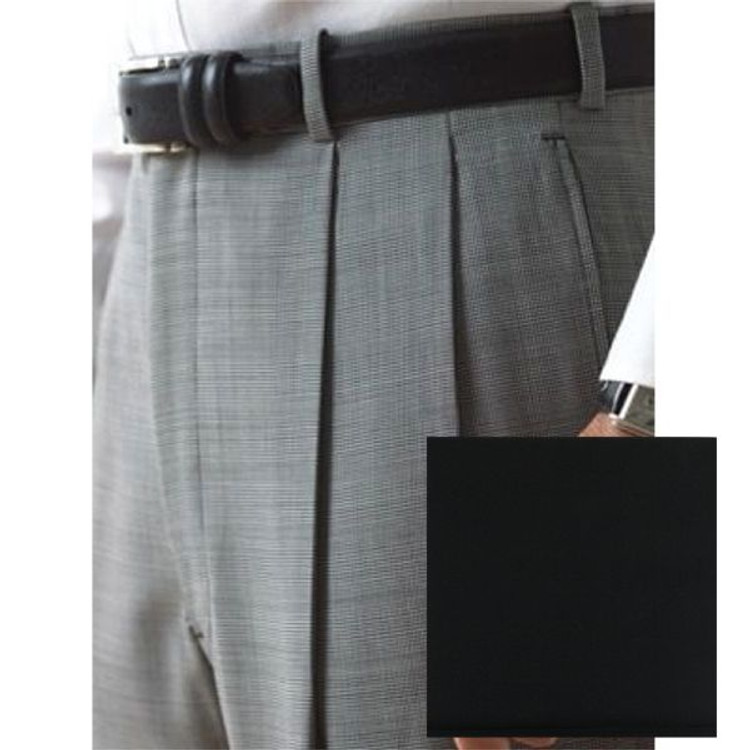 'Lanyard' Double Reverse Pleat Trousers in Black 120's Worsted Wool Gabardine (Size 34) by Corbin