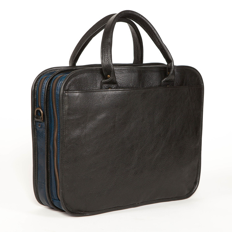 Miller Standard Attache' in Titan Milled Gunmetal and Navy by Moore & Giles