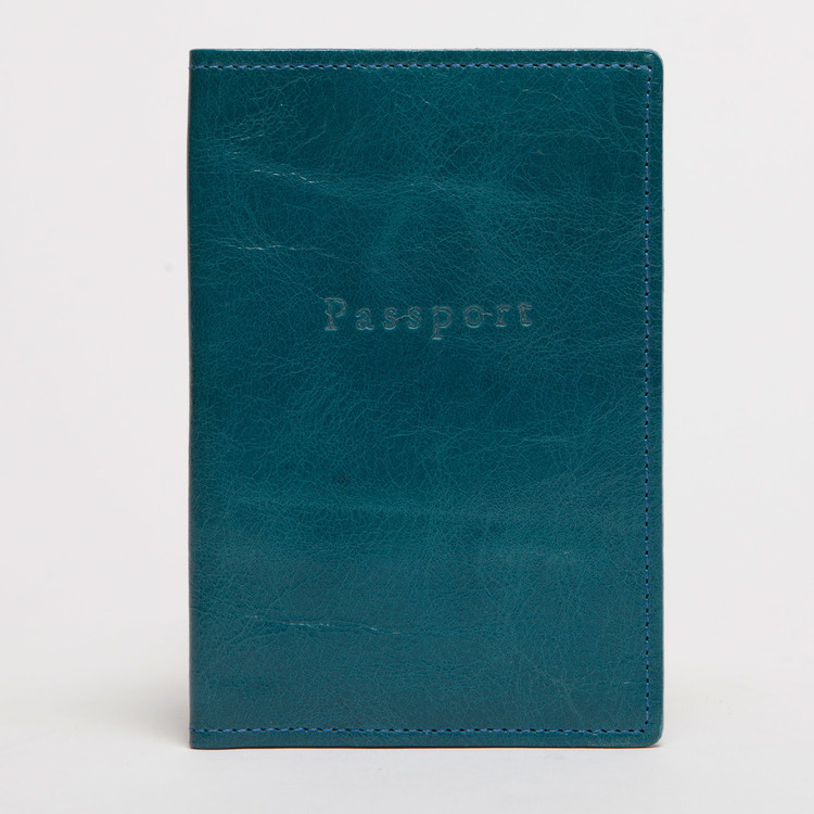 Leather Passport Cover in Ocean by Moore & Giles