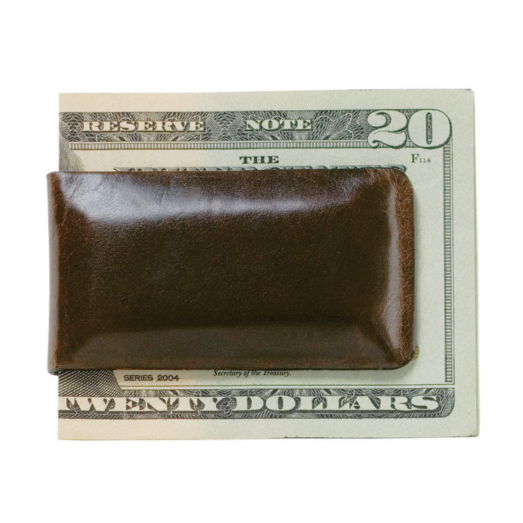 Magnetic Money Clip in Brompton Brown by Moore & Giles
