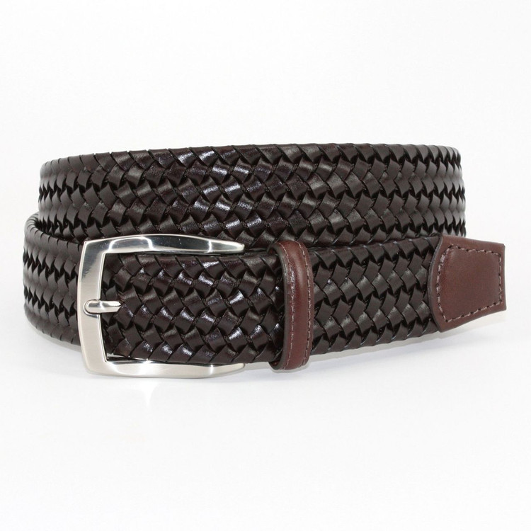 Italian Woven Stretch Leather Belt in Brown by Torino Leather Co.