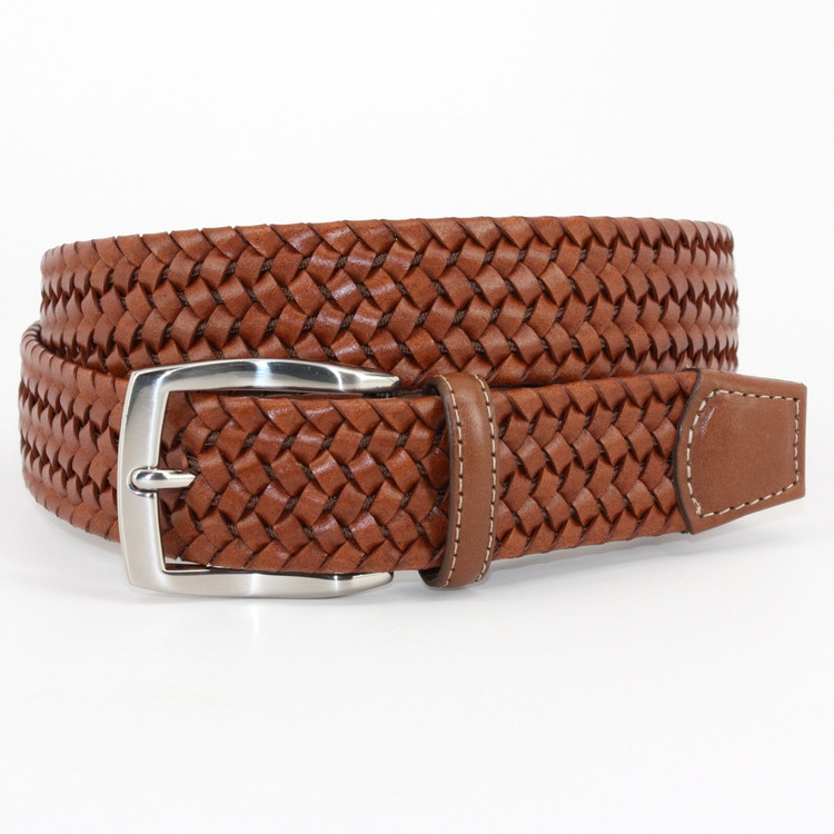 Italian Woven Stretch Leather Belt in Cognac by Torino Leather Co.