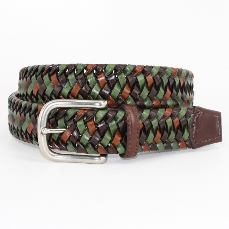 Italian Woven Stretch Leather Belt in Green Multi by Torino Leather Co.
