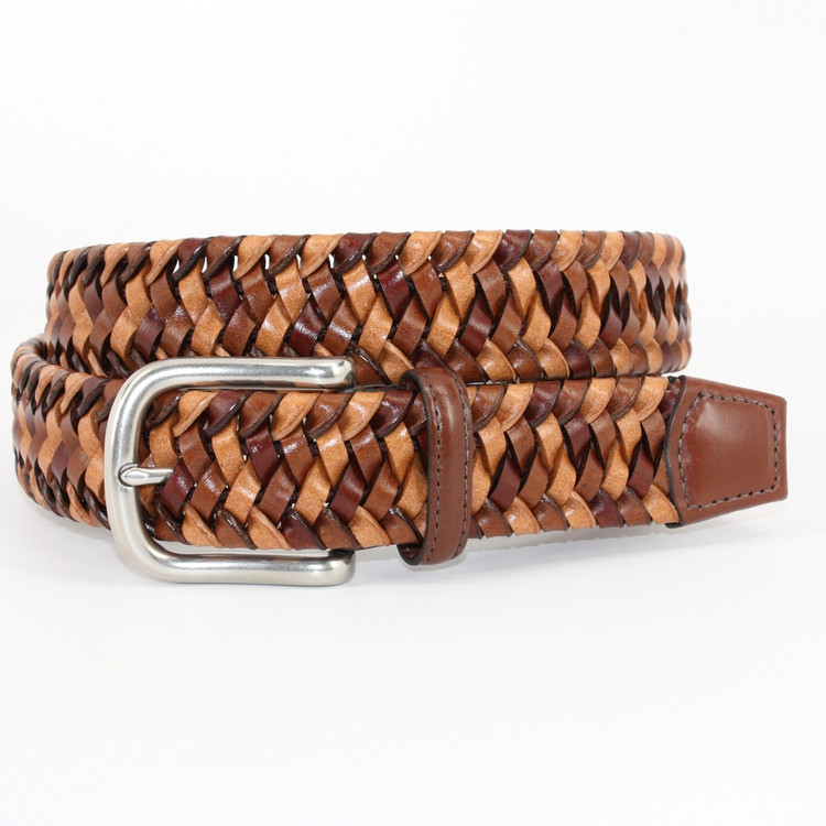 Italian Woven Stretch Leather Belt in Cognac Multi by Torino Leather Co.