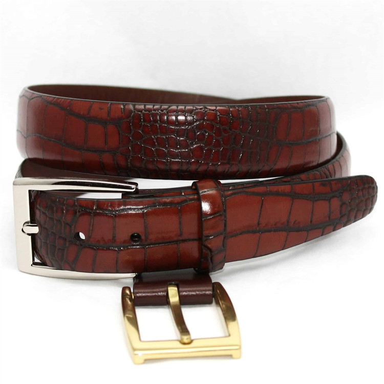 Alligator Embossed Calfskin Belt in Cognac (EXTENDED SIZES) by Torino Leather Co.