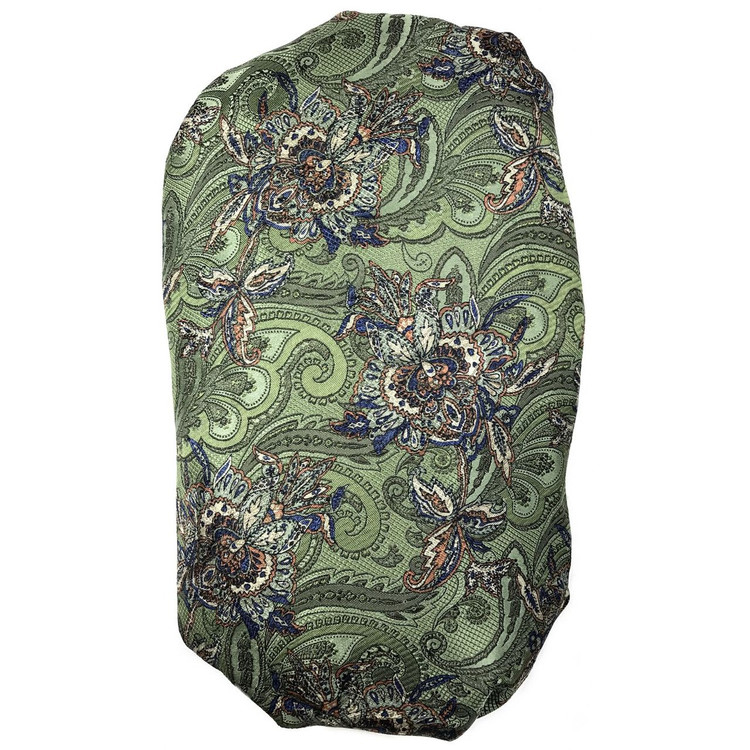 Custom Made Sage and Blue Overprinted Paisley Seven Fold Silk Tie by Robert Talbott