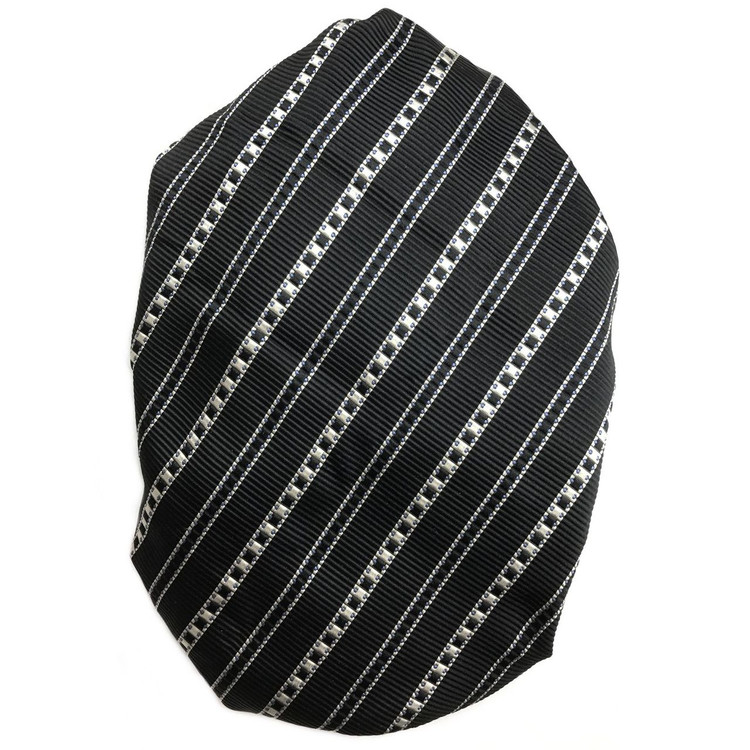 Custom Made Black, Grey, and Blue Stripe Seven Fold Silk Tie by Robert Talbott