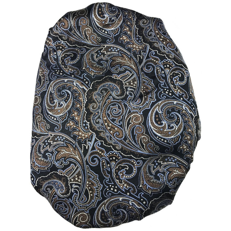 Custom Made Black, Brown, and Blue Paisley 'Claremont' Seven Fold Silk Tie by Robert Talbott