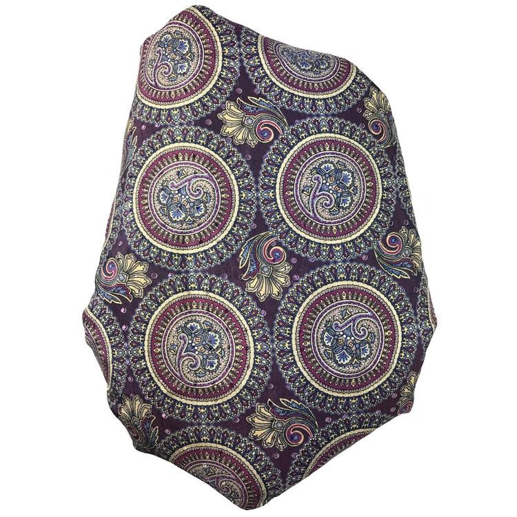 Custom Made Grape, Raspberry, and Ivory Printed Silk Seven Fold Tie by Robert Talbott