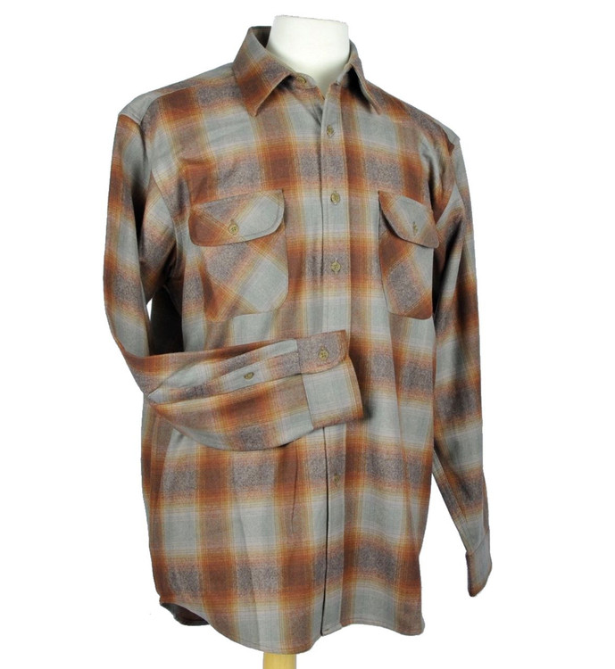 Eco-Wise Wool Field Shirt in Brown and Green Ombre by Pendleton