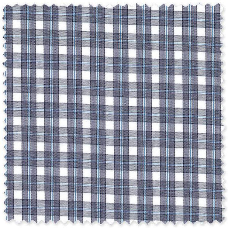 Navy and Blue 60's Single Overlay Border Check Custom Dress Shirt by Gitman Brothers