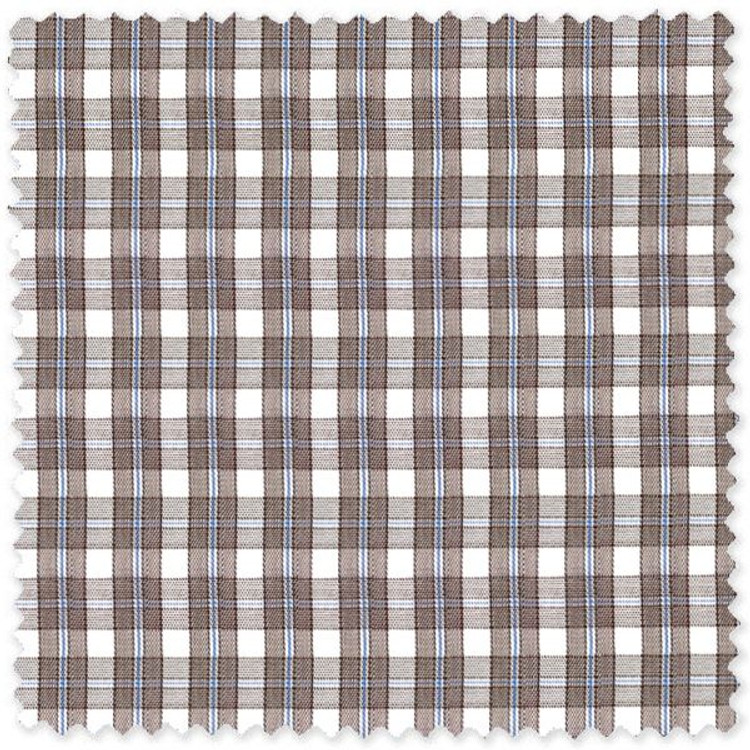 Brown and Blue 60's Single Overlay Border Check Custom Dress Shirt by Gitman Brothers