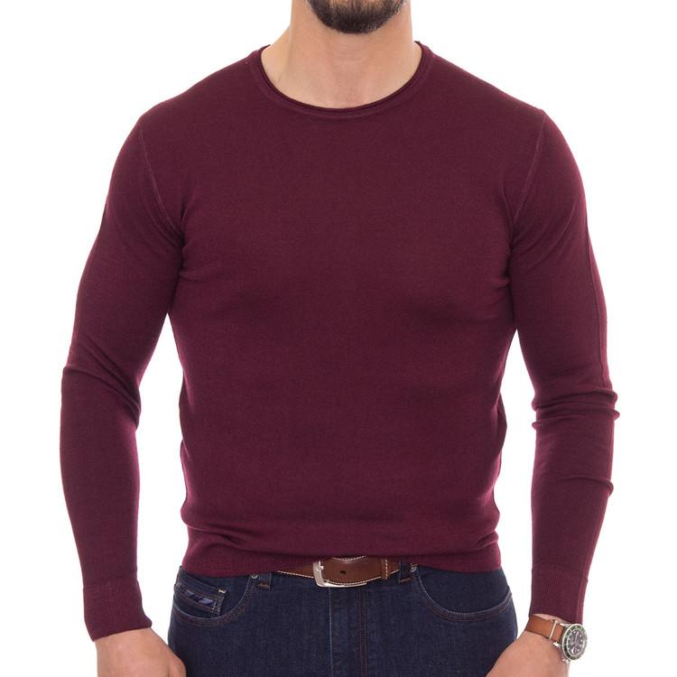 Spring 2017 'Skinner' Jersey V-Neck Sweater in Burgundy by Robert Talbott