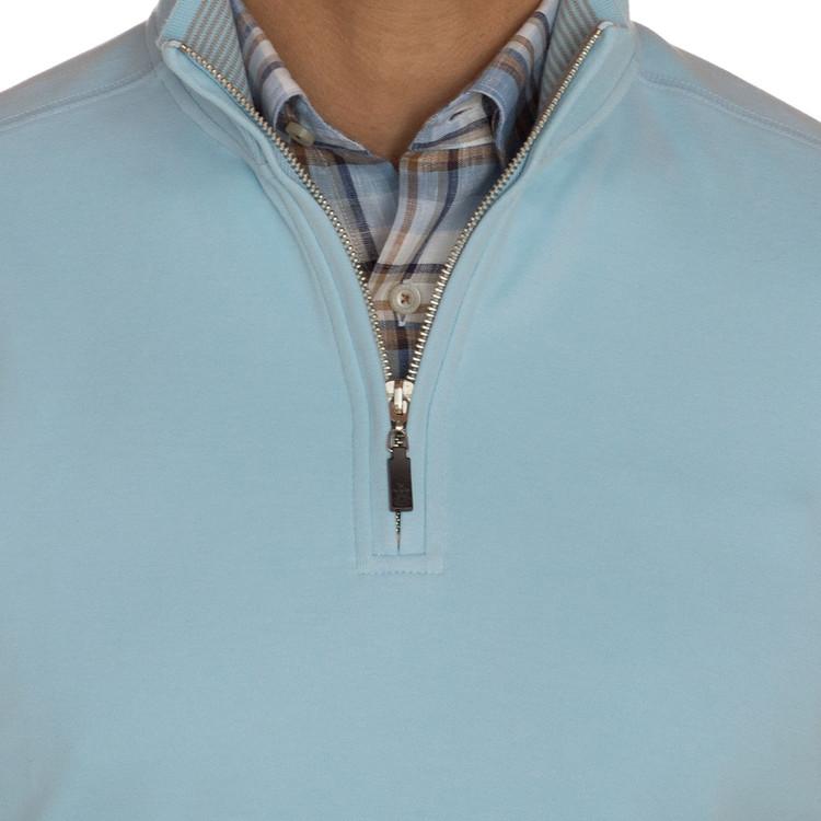 'Harper II' Jersey 1/4 Zip Knit Pullover in Cielo by Robert Talbott