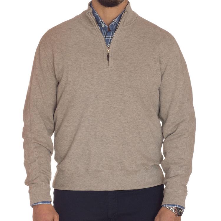 'Harper II' Jersey 1/4 Zip Knit Pullover in Oatmeal by Robert Talbott
