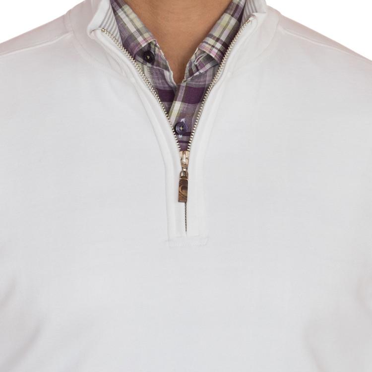 'Harper II' Jersey 1/4 Zip Knit Pullover in White by Robert Talbott