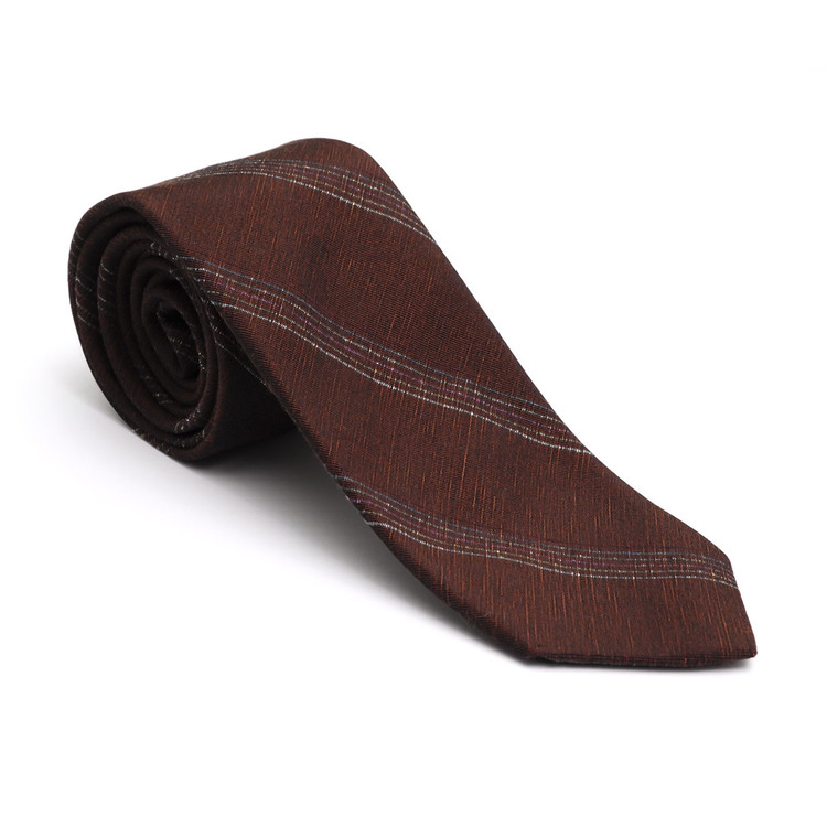 Best of Class Rust Stripe 'Donegal' Woven Wool and Silk Tie by Robert Talbott