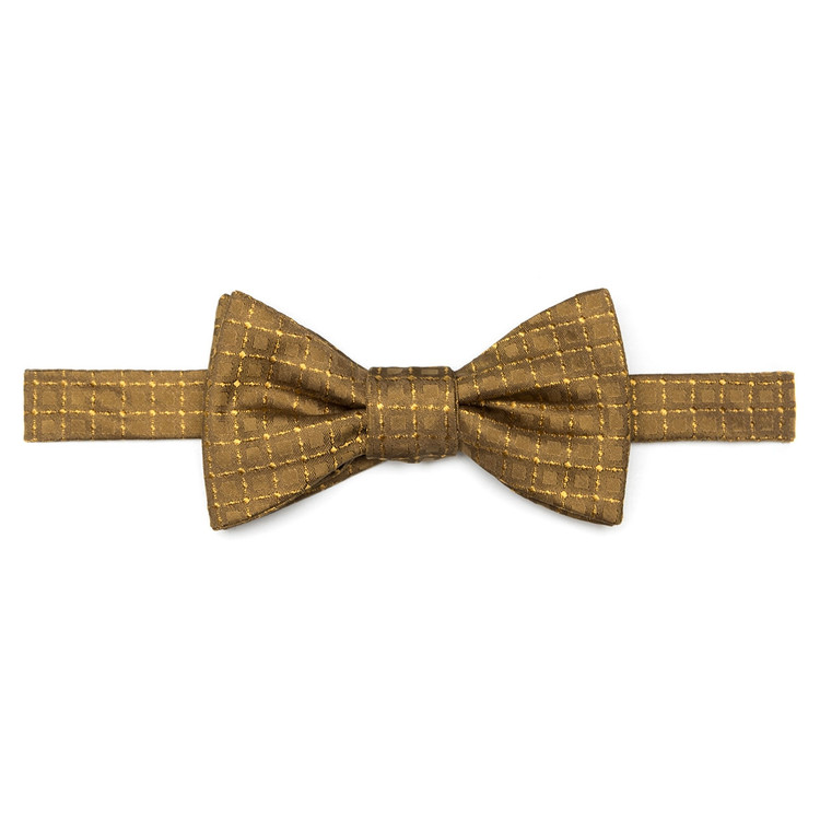 Best of Class Gold Geometric 'Spanish Bay' Hand Sewn Woven Silk Bow Tie by Robert Talbott