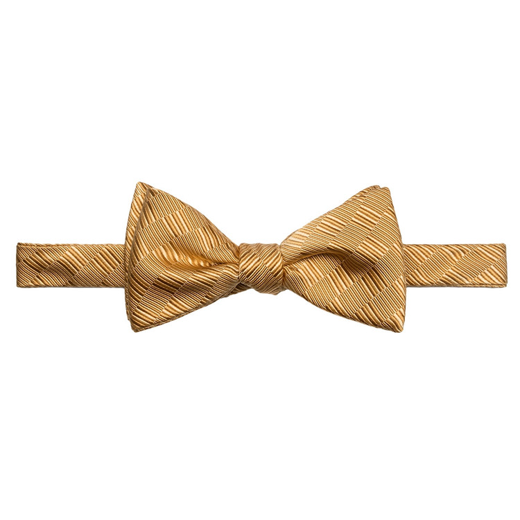 Best of Class Gold Tonal 'Spanish Bay' Hand Sewn Woven Silk and Cotton Bow Tie by Robert Talbott