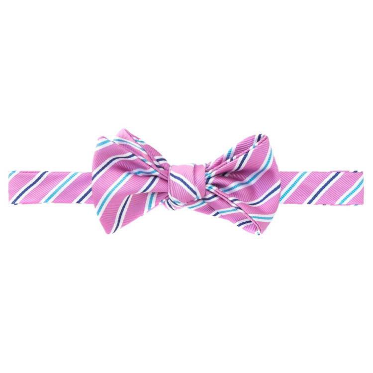 Best of Class Pink Stripe 'Pismo Beach' Hand Sewn Woven Silk Bow Tie by Robert Talbott