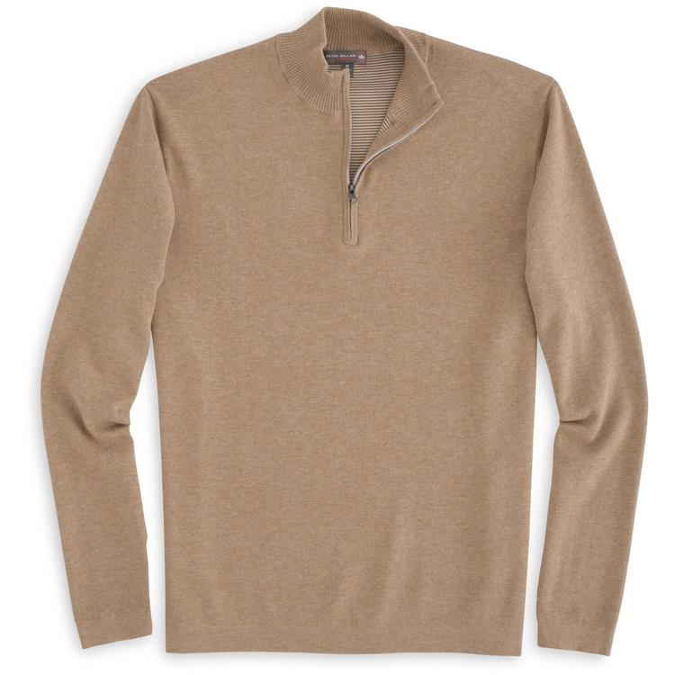 Salisbury Quarter-Zip 'Crown Sport' Performance Sweater in Brown Sugar by Peter Millar